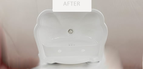 very glossy white basin after renovation