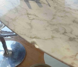 chipped real marble table