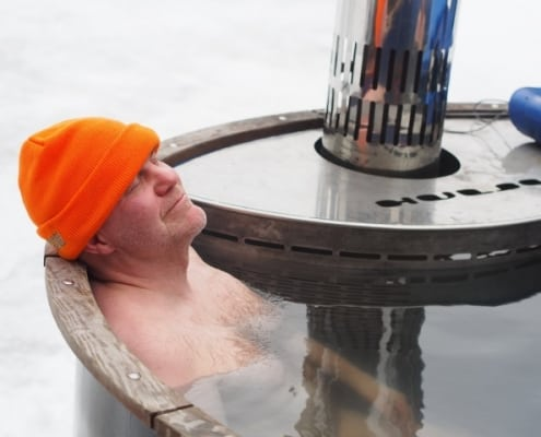 relaxed person in a hot tub